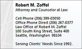 Robert Zoffel - Attorney and Counselor at Law